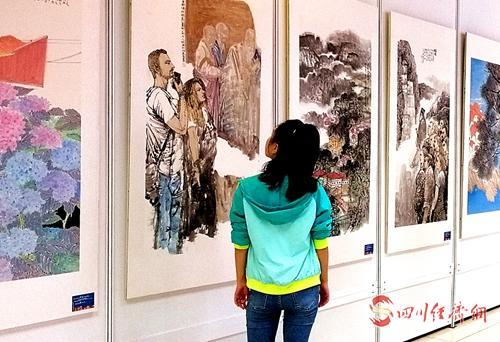 """20(网)四川国际旅博会:中国嘉州画派""""对话""""国际艺术配图    仔细品味.jpg"""