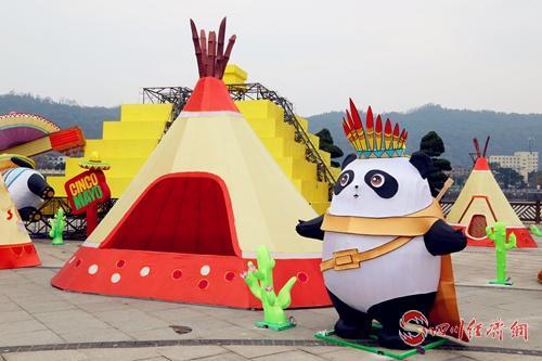 相聚小年夜__雅安第三届熊猫灯会即将亮灯 配图:安装好的大熊猫灯.jpg